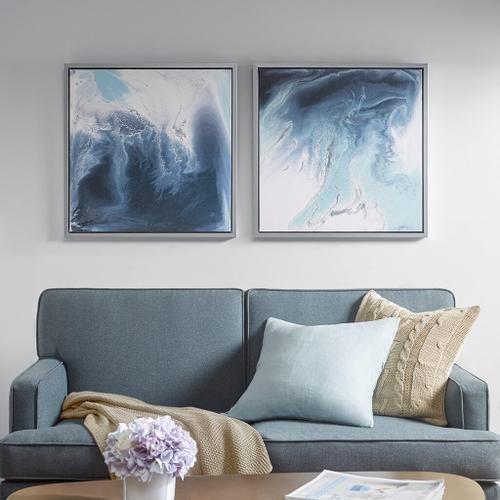 Ollix - Blue Lagoon 2 Gel Coat Framed Canvas 2 Piece Set