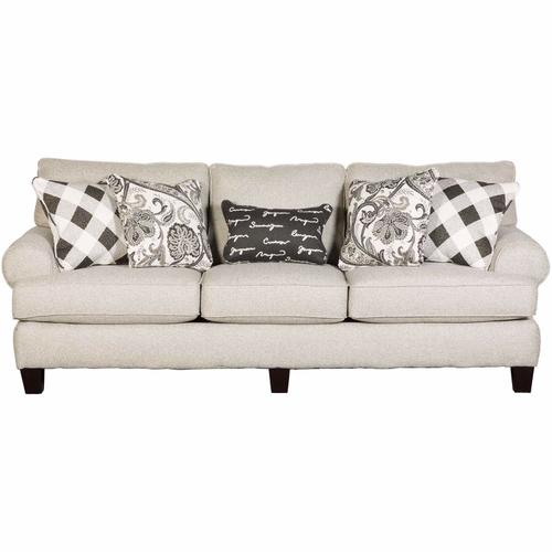 Fusion Furniture - Stationary Sofa in Shadowfox Dove with Abby Road & Castlerock Iron/Poetry Iron Pillows