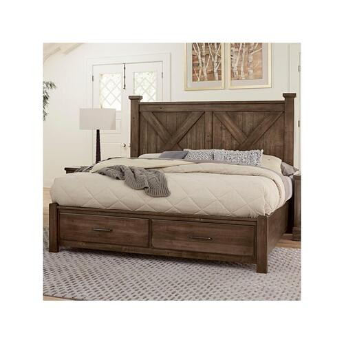 King Cool Rustic Mink X Bed with Footboard Storage