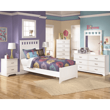 Lulu - White - 7 Pc. - Dresser, Mirror, Chest, Nightstand & Twin Panel Bed