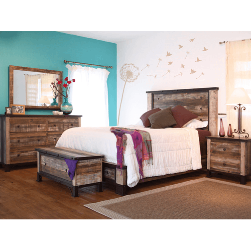 International Furniture Direct - 6 Drawer, 1 Sliding door, Dresser and Mirror