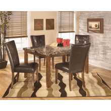 Lacey - Medium Brown - 5 Pc. - Rectangular Table & 4 Upholstered Side Chairs