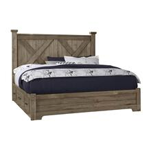 Queen Cool Rustic Stone X Bed with Double Side Storage