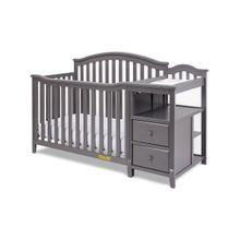 "Crib and Changing Station Combo Grey Finish w"" Changing Pad"