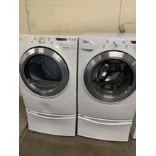 Refurbished White GAS Whirlpool Washer Dryer Set on Pedestals. Please call store if you would like additional pictures. This set carries our 6 month warranty, MANUFACTURER WARRANTY AND REBATES ARE NOT VALID (Sold only as a set)