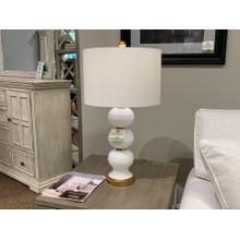 White and Gold Spherical Table Lamp with Drum Shade