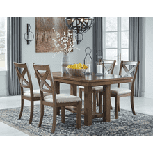 Moriville - Grayish Brown - 5 Pc. - Rectangular Extension Table & 4 Upholstered Side Chairs