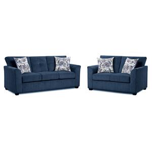 American Wholesale Furniture - Kennedy Navy Sofa/ Loveseat