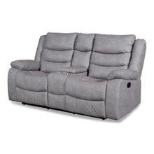 Granada Reclining Loveseat with Console in Arcadia Beamer Gray Fabric
