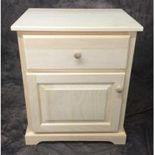 Maine Made Traditional 1 Drawer W. Door Wide Nightstand Pine Unfinished