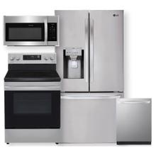 See Details - Stainless Steel Smart wi-fi Enabled 28 cu.ft. French Door Refrigerator & 6.3 cu ft. Electric Range- 4 Pc Package