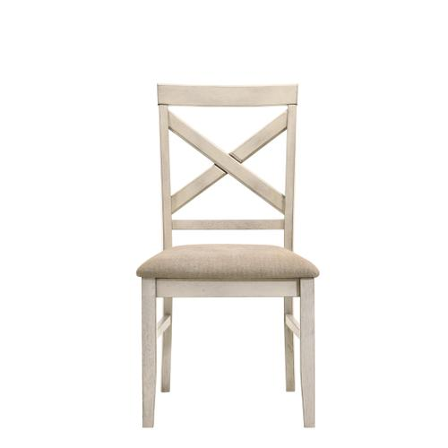 New Classic Furniture - Sommerset Side Chair in Vintage White Finish with Fabric Seats