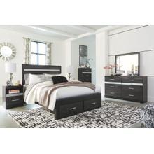 B304 6PC Set: Queen Storage Bed, Dresser, and Mirror (Starberry)
