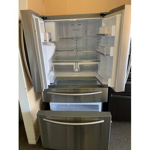 28 cu. ft. 4-Door French Door Refrigerator in Stainless Steel (This is a Stock Photo, actual unit (s) appearance may contain cosmetic blemishes. Please call store if you would like actual pictures). This unit carries our 6 month warranty, MANUFACTURER WARRANTY and REBATE NOT VALID with this item. ISI 39554