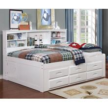 White Twin Bookcase Daybed with 6 Drawer Underbed Storage