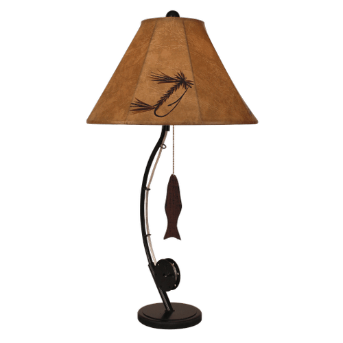 Iron Fly Fishing Pole Table Lamp- Painted Fly Faux Leather Shade