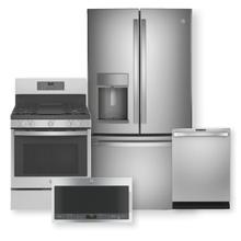 "GE PROFILE 27.7 Cu. Ft. French Door Refrigerator & 30"" Free-Standing Gas Range with No Preheat Air Fry Package"