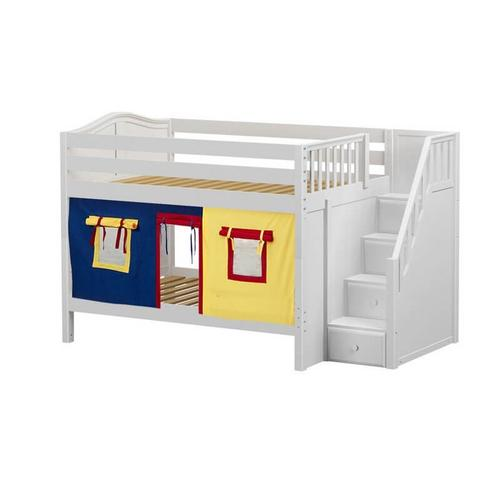 Low Bunk Bed with Staircase on End & Curtain In White Finish