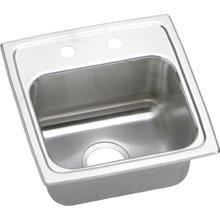 "15"" ELKAY Top Mount Single Bowl Stainless Steel Bar Sink with 18-Gauge, 2"" Drain Opening, 6-1/8"" Bowl Depth and U-Channel Type Mounting System"