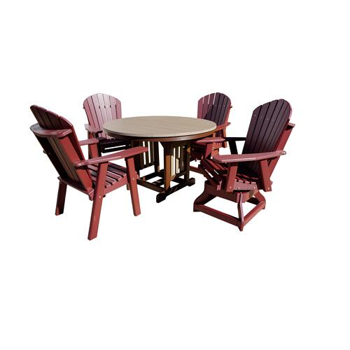 """Outdoor Furniture - 48"""" Round table with 2 adirondack chairs & 2 adirondack swivel chairs. Available in three heights and a 33"""" round table not pictured"""