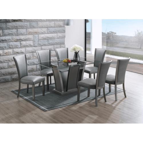 New Classic - Platina Glitter Gray 7pc Dining Room Set