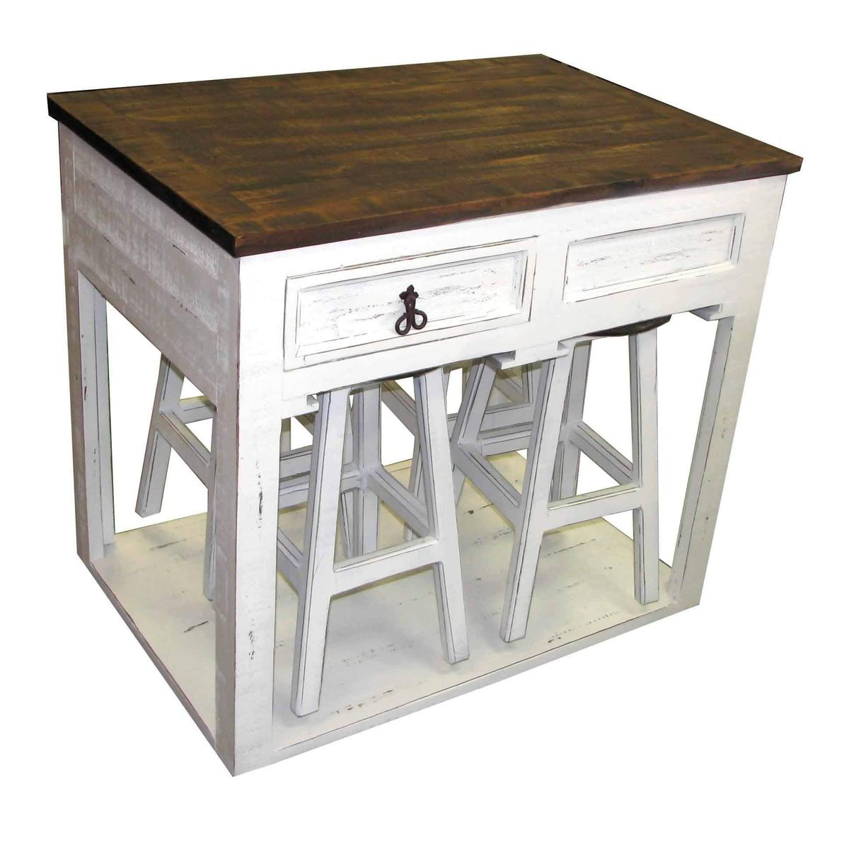 White 2 Drawer Kitchen Island with 4 Barstools -Also available in Aqua, Red, Industrial and White Lava Gray Top