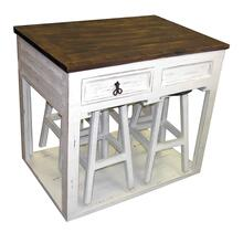 View Product - White 2 Drawer Kitchen Island with 4 Barstools -Also available in Aqua, Red, Industrial and White Lava Gray Top