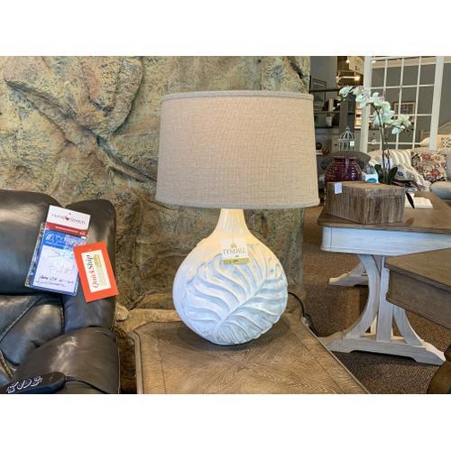Decorative Ceramic White Lamp with Leaf Imprint