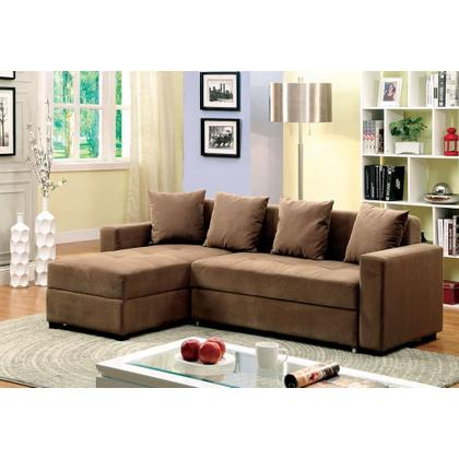 Living Room Sectional w/Brown Fabric