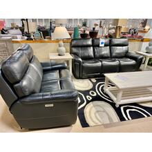 Stallion Black Leather Power Reclining Sofa & Loveseat
