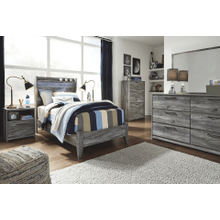 Baystorm- Gray- Dresser, Mirror, Five Drawer Chest, Nightstand & Twin Panel Bed