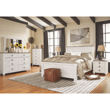 Willowton- Whitewash- Dresser, Mirror, Chest, Nightstand & Queen Panel Bed