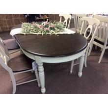 Rockport Round Extension Dining Table - White With Driftwood Top