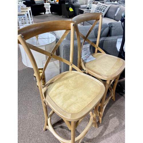 Primitive - Saloon Island Counter Stools in Natural Finish