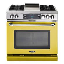 """See Details - Connoisseurian 36"""" Dual Fuel Self Clean Range (Signal Yellow)"""