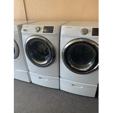 Refurbished White Electric Samsung Washer Dryer Set on Pedestals. Please call store if you would like additional pictures. This set carries our 6 month warranty, MANUFACTURER WARRANTY AND REBATES ARE NOT VALID (Sold only as a set)