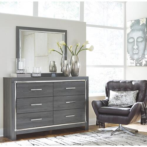 B214 4PC Set: Queen LED Panel Headboard, Dresser, Mirror, and Bed Frame (Lodanna)