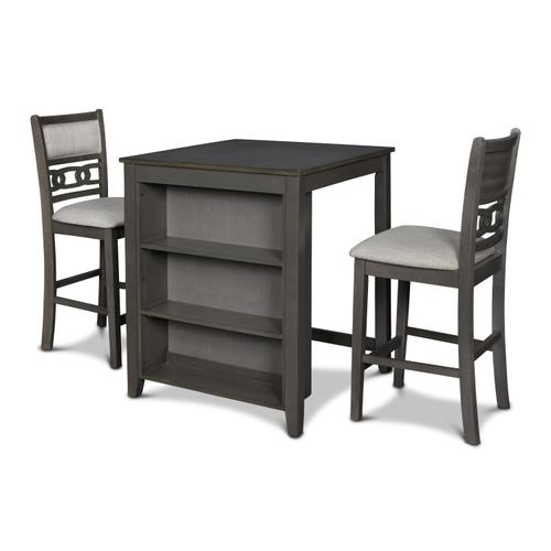 Gia 3 Pc Grey Counter Height Storage Table   2 Chairs by New Classic D1701-32