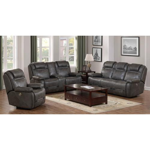 PRIME A454U-405-305-005-676G Badlands Charcoal Power Reclining Sofa, Power Reclining Console Loveseat & Power Recliner Group