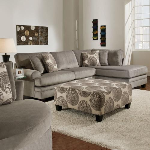 2 Piece Groovy Smoke Sectional Sofa
