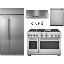 """Cafe 48"""" Professional Dual Fuel Range Kitchen with Built In Refrigerator"""