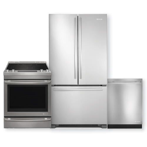 JENNAIR  Stainless Steel French Door Refrigerator & Electric Range 3pc Kitchen Package- Minor Case Imperfections