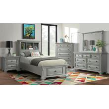 Calloway Grey Bookcase Bedroom - Twin Bookcase Storage Bed, Dresser, Mirror, Chest, and Night Stand