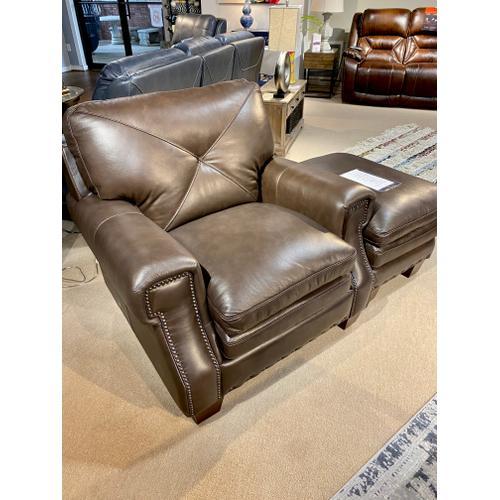 Torino Dark Brown Leather Chair & Ottoman