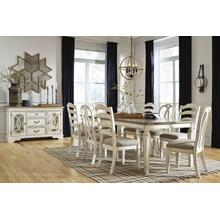 Realyn Chipped White Extendable Rectangular Dining Room Set: Table, 6 Chairs & Server