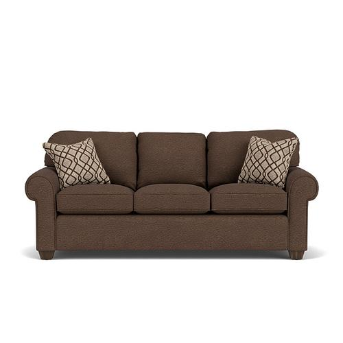 Flexsteel - Thornton Sofa in Brown Java Fabric with Two (2) Brown Natural Pillows