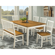 Arlington Slat Back Bench - White & Java