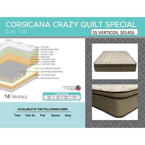 """Corsicana - Crazy Quilt 14"""" - Euro Top - Medium"""