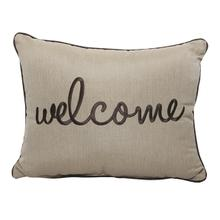 "Welcome Embroidery 16""x20"" - Canvas Heather Beige"