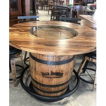 Jack Daniels Whiskey Barrel Pub Table w/4 Swivel Bar Stools